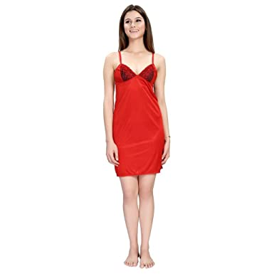PIU Women s Satin RED Babydoll Chemise Short Nighty Satin Lycra Comfort fit Plain  Red Smooth Feel Glossy   Shiny Sensual Honeymoon Roomwear Strip Deep ... 05483ef26