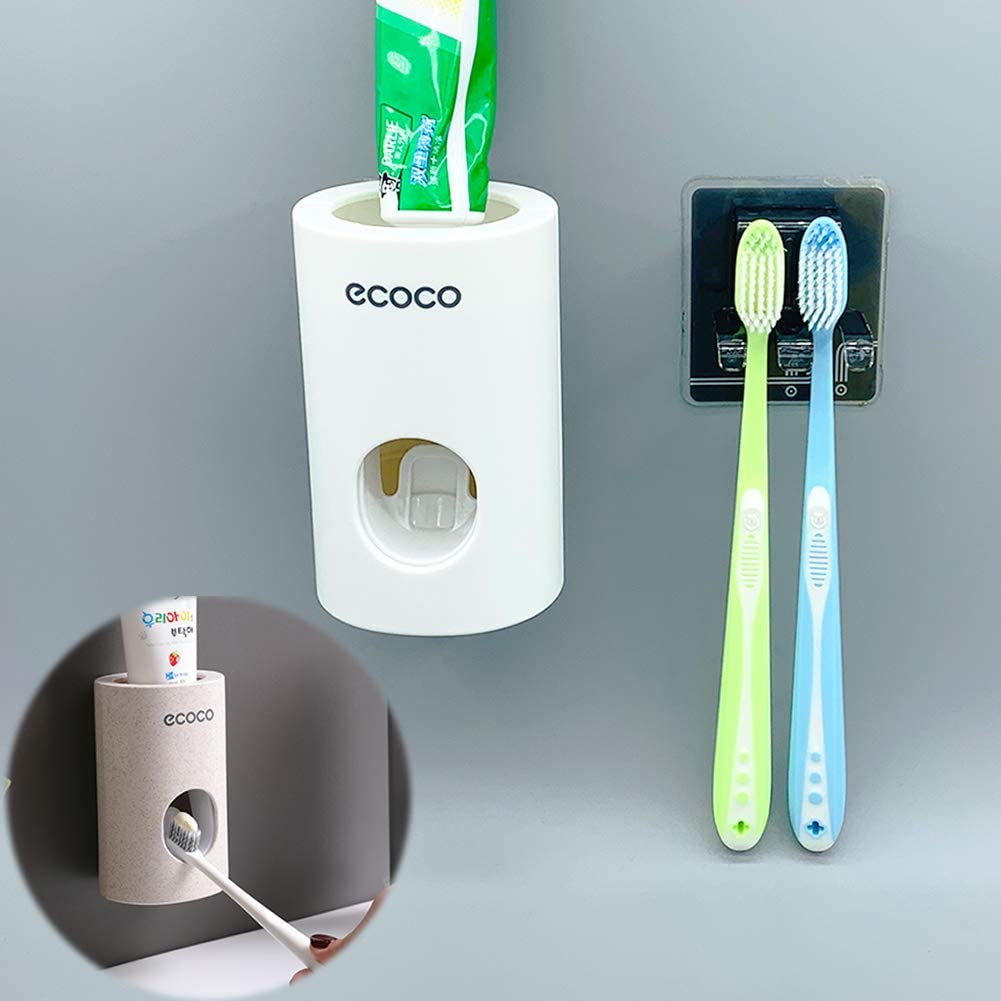 Bechoicen Automatic Toothpaste Dispenser Set and Bathroom Toothbrush Holder Wall Mounted with Super Sticky Suction Pad, White, Cream-Colored