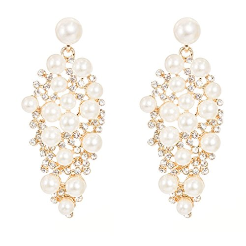 NLCAC Pearl Earring Elegant Crystal Bride Earrings Shining White Pearl Earring Studs