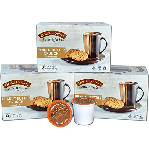 Door County Coffee, Flavored Coffee, Single-Serve Cups for Keurig Brewers (Peanut Butter Crunch, 30 Count)