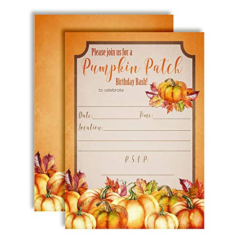 - Watercolor Pumpkin Patch Birthday Bash Party Invitations, 20 5