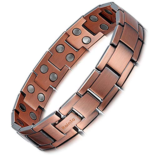 Rainso Mens Copper Double Row Magnetic Therapy Bracelets for Arthritis Wristband Adjustable (Double Row Magnetic Style 1) ()