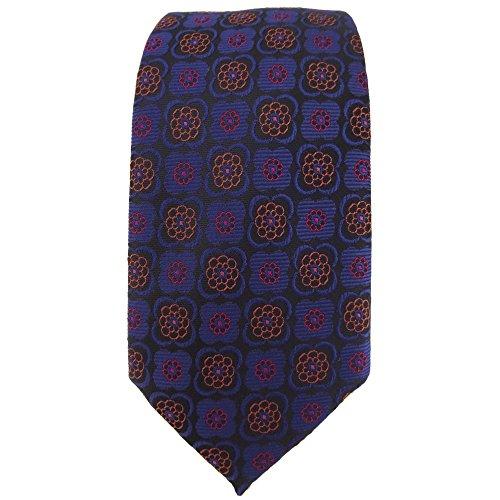 étroit TigerTie cravate en marine cuivre rouge noir à motifs -