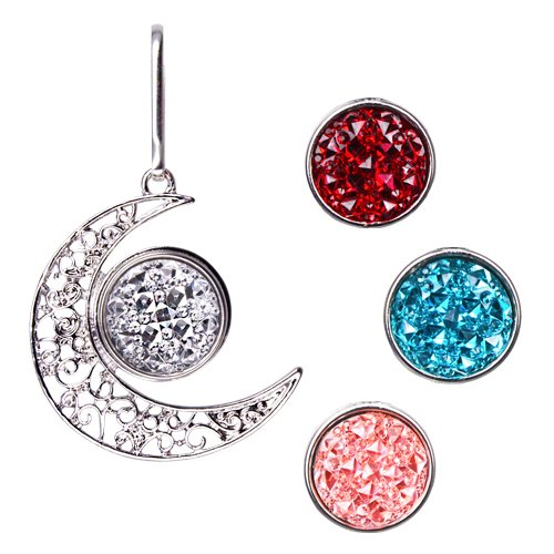 Ascrafter Moon Zipper Pulls Charm - Zipper Charm with 4 Rhinestone Snap Buttons for Jacket, Purses, Backpack, Luggage Bag Pendant & More