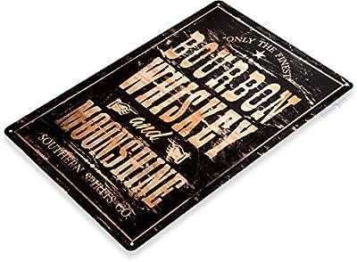 Tinworld TIN Sign Bourbon Whiskey Moonshine Decor Wall Art Bar Beer Shop Store A025