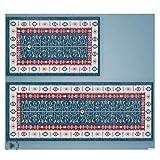 GHGMM Household Kitchen Strip Carpet, Bedroom Water Absorption Non-Slip Mat, Machine Washable Foot Pad Door Mat,Blue,4060Cm+45120Cm