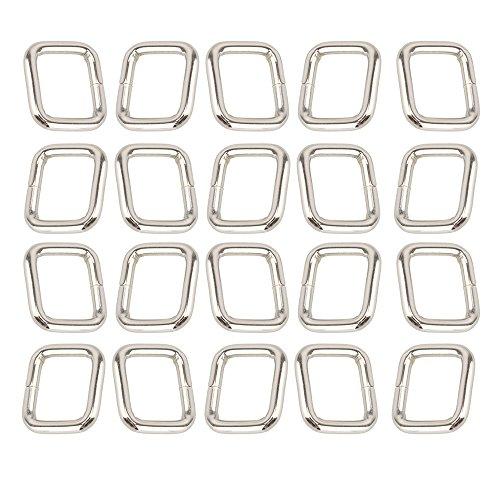 Purse Handbag Loop Hook Metal Rectangle 20mm Webbing Belts Buckle Pack of 20 (Metal Ring Square)