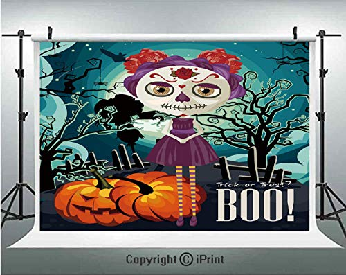 Halloween Photography Backdrops Cartoon Girl with Sugar Skull