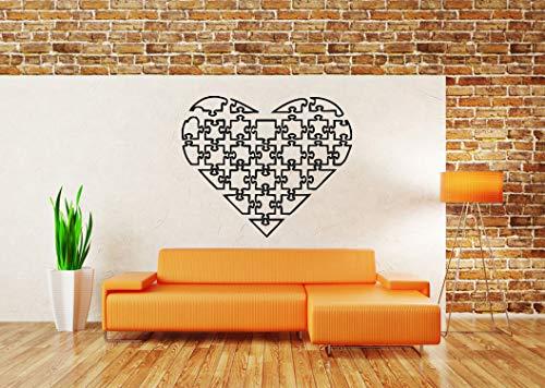 (Vinyl Sticker Puzzle Heart Shape Maze Labirint Smart Brain Brainstorm Math School Kids Lessons Love Poster Mural Decal Wall Art Decor SA2409)