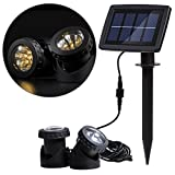 Hansuo Solar Underwater Spot Light,with 2 Lamps 12 LEDs,Sensor Projector Light Garden Pool Pond Yard Fountain Submersible Spotlight Outdoor Landscape Lighting (Warm White)
