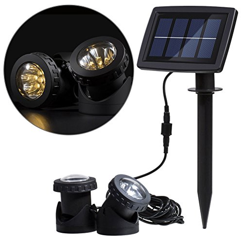 Hansuo Solar Underwater Spot Light,with 2 Lamps 12 LEDs,Sensor Projector Light Garden Pool Pond Yard Fountain Submersible Spotlight Outdoor Landscape Lighting (Warm White) by Hansuo