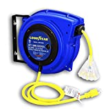 Goodyear Extension Cord Reel Heavy Duty, 40 ft, 12AWG/3C SJTOW, Triple Tap with LED Lighted Connector