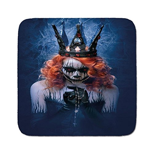 Cozy Seat Protector Pads Cushion Area Rug,Queen,Queen of Death Scary Body Art Halloween Evil Face Bizarre Make Up Zombie,Navy Blue Orange Black,Easy to Use on Any Surface -