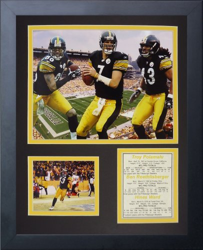 Legends Never Die Pittsburgh Steelers 2000& 039;s Big 3 Framed Photo Collage, 11x14-Inch by Legends Never Die