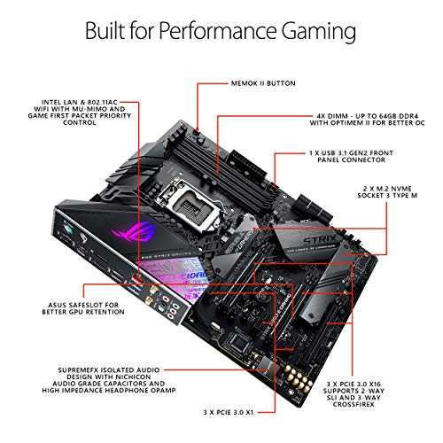 Asus ROG Strix Z390-E Gaming Motherboard LGA1151 (Intel 8th 9th Gen) ATX DDR4 DP HDMI M.2 USB 3.1 Gen2 802.11AC Wi-Fi (Renewed)