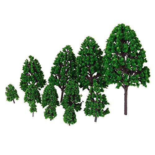 12pcs 1:50 Train Scenery Landscape Model Trees (Green) - 7