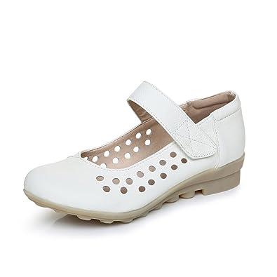 98126527bd43 XZGC Spring Nurses Shoes Flat Bottom Soft Leather Shoes  Amazon.co ...