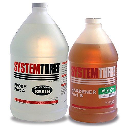 System Three 0104K46 Dark Amber General Purpose Epoxy Kit with #3 Slow Hardener, 1.5 gal Bottle