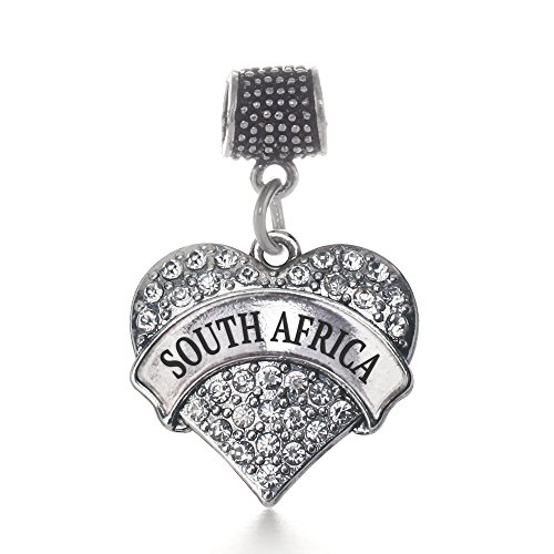 Inspired Silver South Africa Pave Heart Memory Charm Fits Pandora Bracelets & Compatible with Most Major Brands such as Chamilia, Murano, Troll, Biagi and other European Bracelets by Inspired Silver