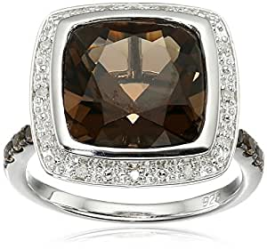 Sterling Silver Smoky Quartz and Diamond Accent Cushion Halo Ring, Size 7