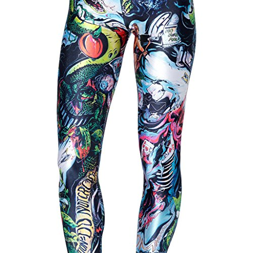 Dragon Womens Tracksuit (Azure Dragon Women's Slim Graphic Printed Pattern Stretchy Pencil Pants Sexy Tights Jegging)