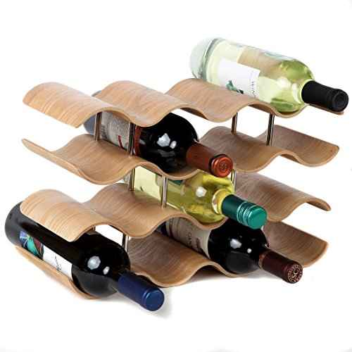 Lily's Home Countertop Wave Wine Rack, Wood, Elegant and Modern, Table Top Wine Storage (Oak, 14 Bottles)]()