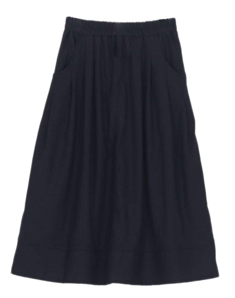 Soojun Women's Casual Loose Pleated Cotton Linen Long Maxi Skirts Black