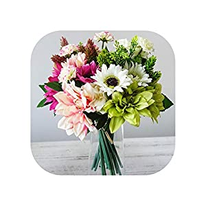 Sweet*love 12Pcs/Bunch Silk Dahlia, Flowers, Daisy Artificial Hand Flowers for Wedding Decoration Mariage Flower Wreath 11
