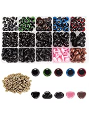 AIEX 560 stuks kleurrijke ogen en neus, bevat 170 stuks kunststof veiligheidsogen en 110 stuks veiligheidsneus met 280 stuks wasmachine meerdere maten voor pop, teddybeer knutselen