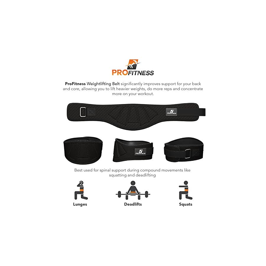 ProFitness Weightlifting Belt (6 Inch Wide) – Proper Weight lifting Form – Unisex Back Support for Cross Training Exercises, Powerlifting Workouts