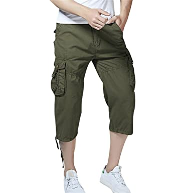 fc7a6d1d20 Sunshey Men's Cotton Outdoor Cropped 3/4 Cargo Shorts Pants Summer Casual  Multi Pockets Shorts