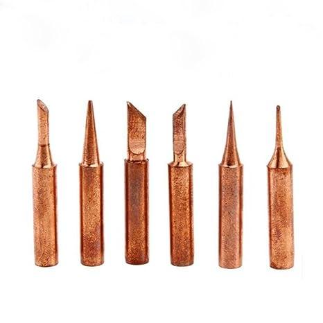 Qotone Punta de soldadura de cobre puro de 6 piezas / porción punta de soldadura 900M