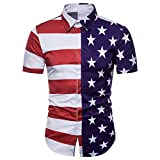Nevera Mens Fashion Casual Short Sleeve Blouse, Mens Women July 4th Independence Day Printing American Flag T-Shirt (XL, A_Red)