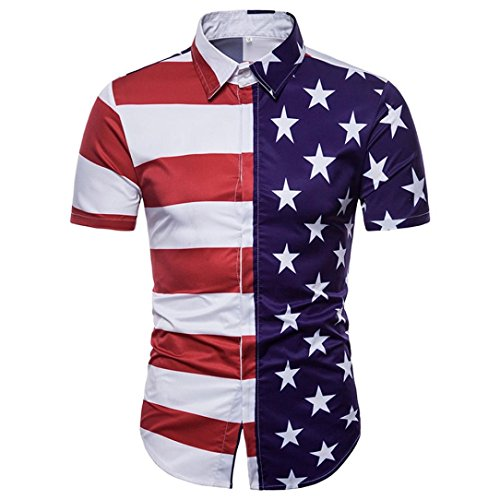 Nevera Mens Fashion Casual Short Sleeve Blouse, Mens Women July 4th Independence Day Printing American Flag T-Shirt (M, A_Red)