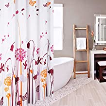 JynXos Butterfly and Dandelion Shower Curtain Colorful Flying in the Wind Flowers Thistle Botanical Prints Home Accent and Bathroom Decorations 48x72inch