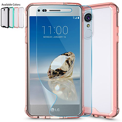 LG Aristo Case,LG Phoenix 3 Case,LG Fortune,LG Rebel 2 LTE / Risio 2 Clear Case w/ HD Screen Protector,NiuBox Armor Ultimate Crystal PC Cover TPU Bumper Protective Phone Case for LG K8 2017 Rose Gold