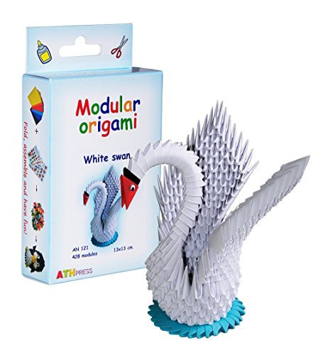 Modular Origami 428-Piece Small Swan Paper Set, White by Modular Origami