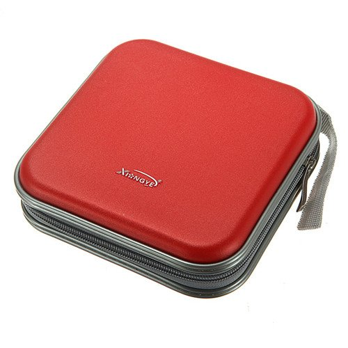 MECO(TM) 40 Dics CD/VCD/DVD Case Storage Organizer Wallet Holder Album Box (Red)