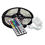 KLAREN Led Strip Lights Kit Waterproof SMD 5050 16.4 Ft (5M) 300leds RGB 60leds/m with 44key Ir Controller for Kicthen Bedroom Sitting Room and Outdoor