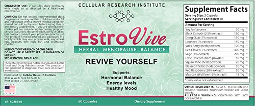 Estrovive - Hot Flashes Menopause Relief - Black Cohosh Menopause Complex - Sleeping Pills - Hot Flash Relief (2-pack) by CRI Naturals (Image #1)