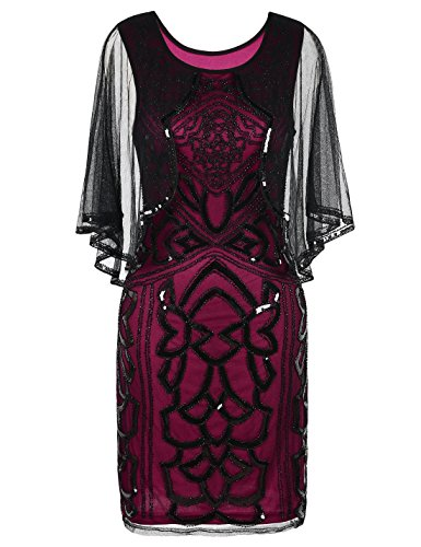 PrettyGuide Women's Flapper Dress 1920s Gatsby Inspired Sequin Art Deco with Cape M Burgundy