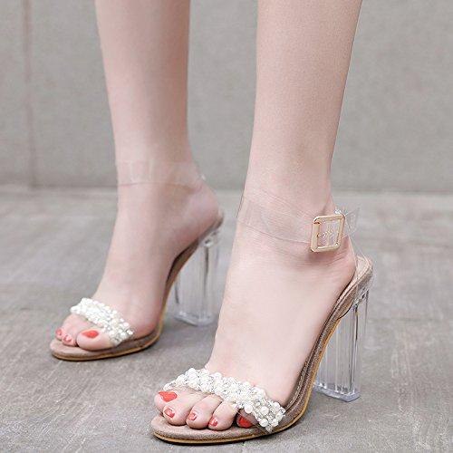 crystal 35 moda perle a GTVERNH trasparente sandali albicocca summer tallone string spillo tacchi 10 12cm RqEWwBUw