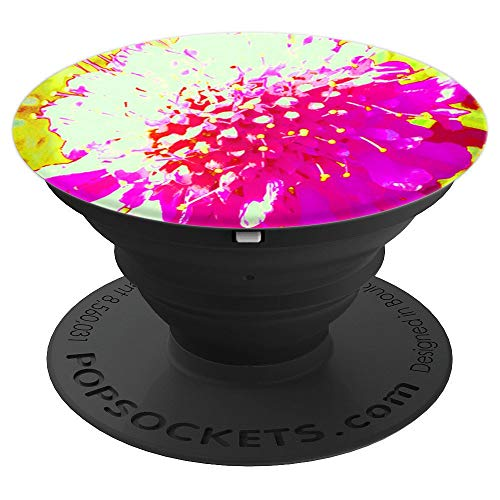 (Abstract Pincushion Flower in Hot Pink on Red and Yellow - PopSockets Grip and Stand for Phones and Tablets)