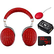 Parrot Zik 3 Wireless Noise Cancelling Headphones with Wireless Charger (Red Croc) Includes Bonus Parrot Interchangable Battery for Zik 2 and Zik 3 - PF056026, and More