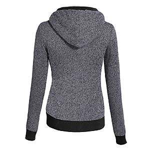 Azkara Women's Zip Up Warmer Fleece Jacket Hoodie Small MelangeCharcoal