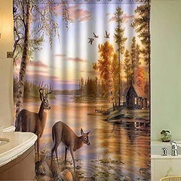 Amazon 150x180cm Polyester Fiber Waterproof Deer Shower Curtain