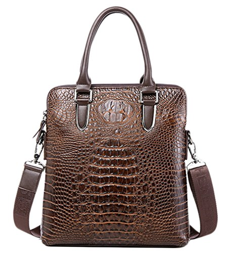 Classic Laptop Coffee Embossed 28x46x6cm Leather Layers Crocodile Purse Genuine Elezay Two Unisex Zippers Handbags w1vq5