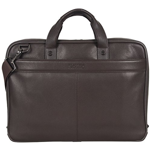 "Kenneth Cole Reaction Leather Slim Double Compartment Top Zip 15.0"" Computer Business Case Laptop Briefcase, Brown, One Size by Kenneth Cole REACTION"
