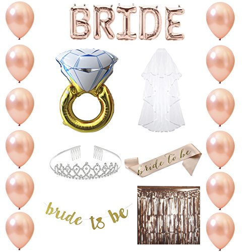 Bachelorette Party Supplies Rose Gold Set - Bridal Shower Decorations, and Favors Kit with Balloons, Tiara, Veil, Sash, Banner, Ring and Photo Booth Background. - Bridal Shower Decorations Favors