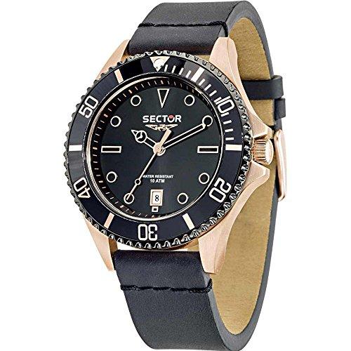 Sector Men's 48mm Black Leather Band Steel Case Quartz Analog Watch R3251161013